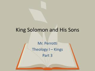 King Solomon and His Sons