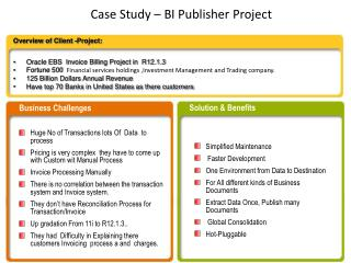 Case Study � BI Publisher Project