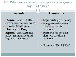 FQ: What are some ways I can plan and organize my DBQ essay?