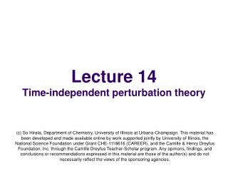 Lecture 14 Time-independent perturbation theory