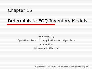 Chapter 15  Deterministic EOQ Inventory Models
