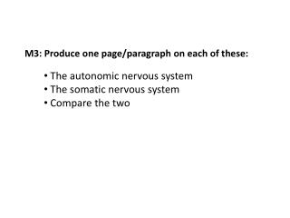 M3: Produce one page/paragraph on each of these: