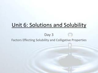 chem173 6 solutions and solubility Chapter 17: solubility & complex ion equilibria the goal of this chapter is to understand the equilibria that exist between ionic solids and their ions in solution, and.