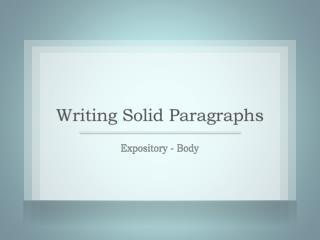Expository - Body