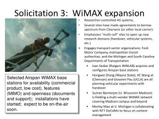 Solicitation 3:  WiMAX expansion
