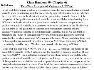 Class Handout #9 (Chapter 6)