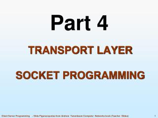 Transport Layer Socket programming