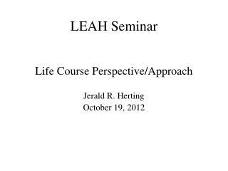 LEAH Seminar