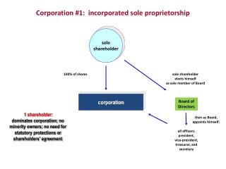 Corporation #1:  incorporated sole proprietorship