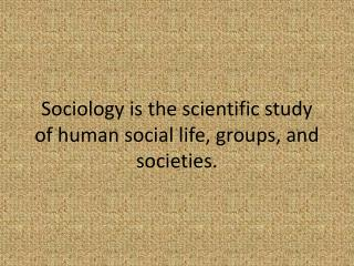 Sociology is the scientific study of human social life, groups, and societies.