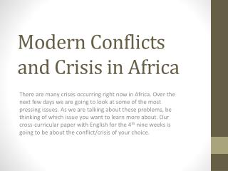 Modern Conflicts and Crisis in Africa