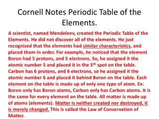 Cornell Notes Periodic Table of the Elements.