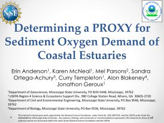 Determining a  PROXY  for Sediment Oxygen Demand of Coastal Estuaries