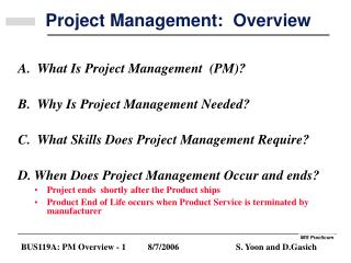 Project Management:  Overview