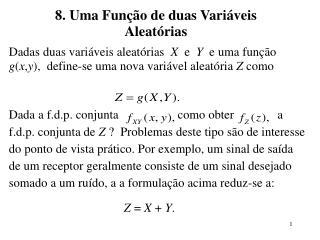 8. Uma Função de duas Variáveis Aleatórias