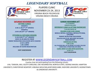 SATURDAY NOVEMBER 23 TH HITTING CLINICS SESSION 1 8:30-11:30 (7 TH -9 TH  GRADES) SESSION 2