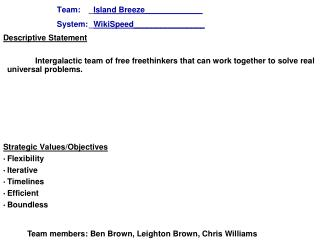 Team: _ Island Breeze_____________ System:_ WikiSpeed _ _______________