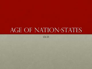 Age of Nation-states