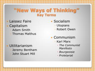 �New Ways of Thinking� Key Terms