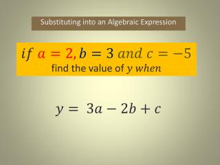 Substituting into an  Algebraic Expression