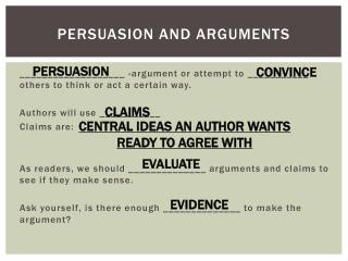 Persuasion and Arguments