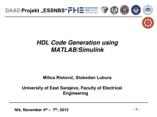 HDL Code Generation using MATLAB/Simulink