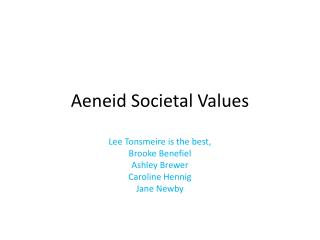 Aeneid Societal Values