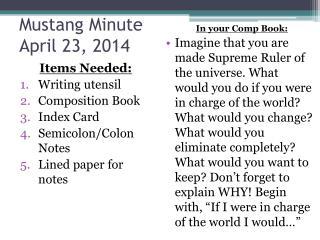Mustang Minute April 23, 2014