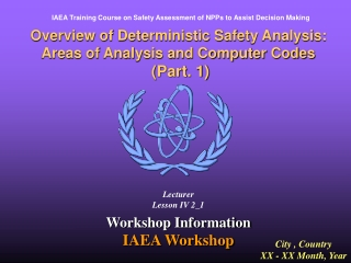 Overview of Deterministic Safety Analysis: Areas of Analysis and Computer Codes  Part. 1