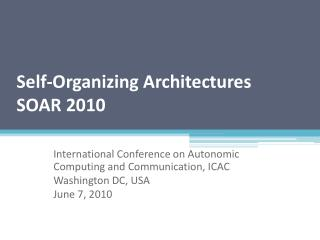 Self-Organizing Architectures SOAR 2010