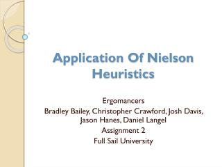 Application Of Nielson Heuristics