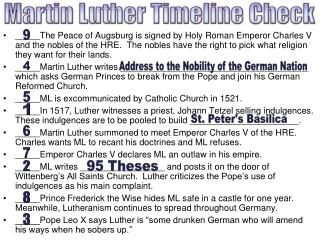 Martin Luther Timeline Check