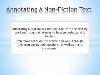 Annotating A Non-Fiction Text