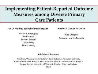Implementing Patient-Reported Outcome Measures among Diverse Primary  Care Patients