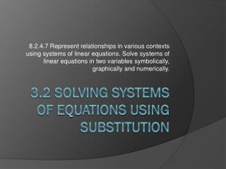 3 .2  Solving Systems of Equations using Substitution