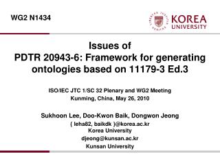 Issues of PDTR 20943-6: Framework for generating  ontologies  based on 11179-3 Ed.3