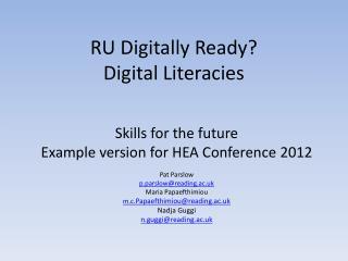 RU Digitally Ready? Digital Literacies
