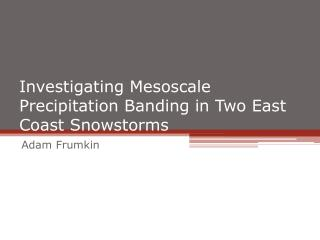 Investigating Mesoscale Precipitation Banding in Two East Coast Snowstorms