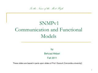 SNMPv1 Communication and Functional Models