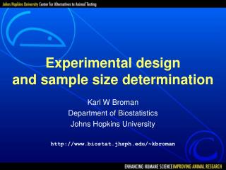 Experimental design and sample size determination