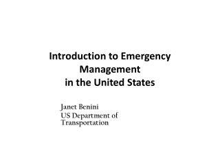 Introduction to Emergency Management  in the United States