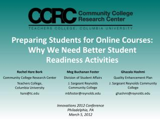 Preparing Students for Online Courses: Why We Need Better Student Readiness  Activities