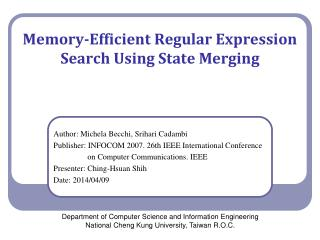 Memory-Efficient Regular Expression Search Using State  Merging