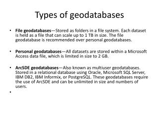 Types of  geodatabases