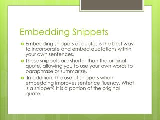 Embedding Snippets
