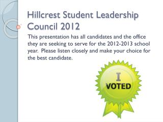 Hillcrest Student Leadership Council 2012