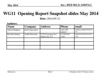 WG11   Opening  Report  Snapshot slides May 2014