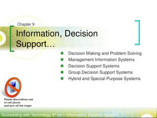 Information, Decision Support�