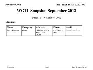 WG11  Snapshot September 2012