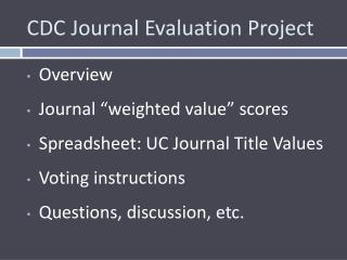 CDC Journal Evaluation Project